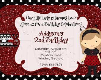 Ladybug Birthday Party Invitation-digital file