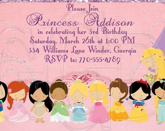 Princess Invitation Birthday-Disney Inspired10 Princesses- Digital File