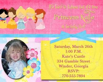 Princess Birthday Invitation-Digital File
