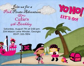 PINK  Pirate Invitation Girl-Digital File YOU print