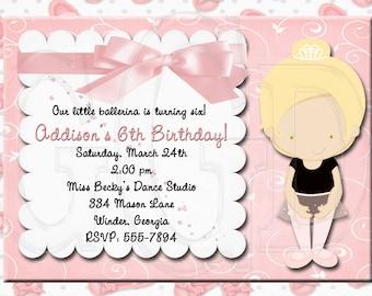 Ballerina Invitation Birthday-Digital File