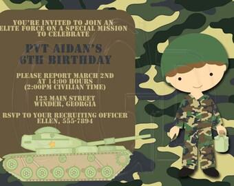 Army Invitation -Digital File YOU Print