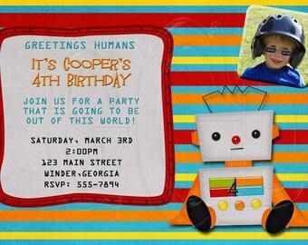 Robot Invitation Birthday -Digital File