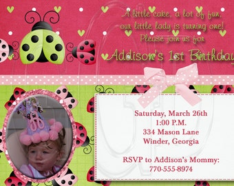 Ladybug Birthday Invitation pink green-Digital File