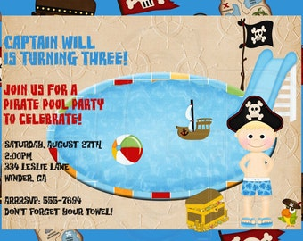 Pirate Pool Party Invitation-Digital File YOU print