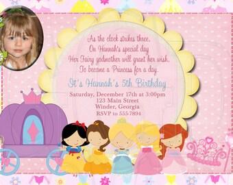 Princess Birthday Invitation Disney Inspired-Digital File