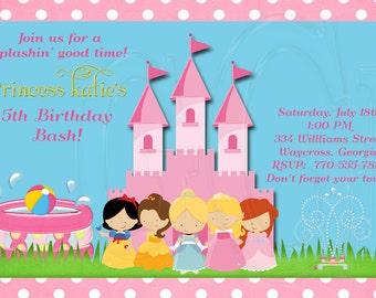Princess Pool Party Invitation-Digital File