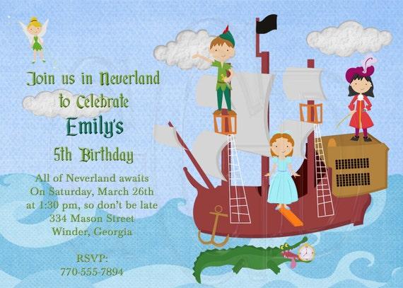 Peter Pan Inspired Birthday Invitation-Digital File