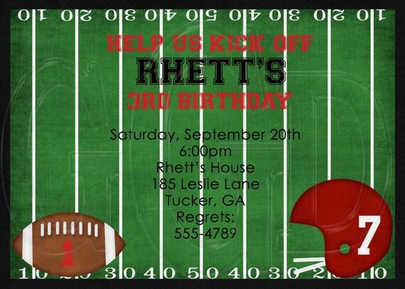 Football Theme Birthday Party Invitation-Digital File