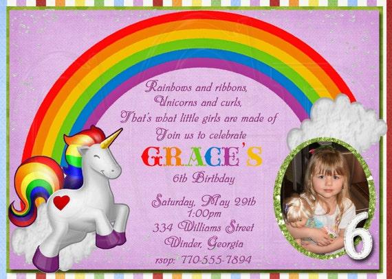 Unicorn Rainbow Invitation Unicorn Invite Unicorn Birthday