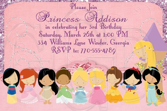 Princess Invitation Birthday-Disney Inspired10 Princesses- Digital File