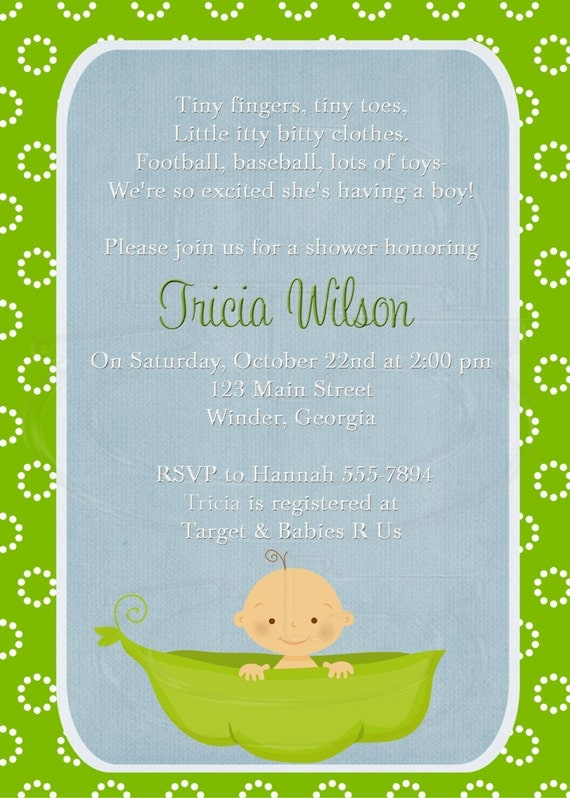 items similar to baby shower invitation or baby sprinkle  for 2nd or 3rd child  pea in a pod