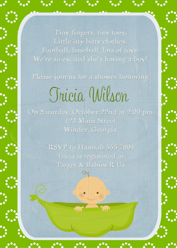 Baby Shower Invitation Or Baby Sprinkle (for 2nd Or 3rd Child) Pea In .