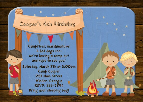 Camp Invitation Camp out Party-Digital File
