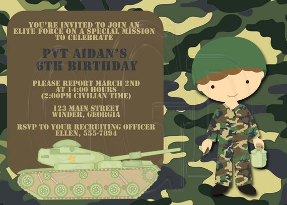 army invitation camo invite army birthday soldier invite