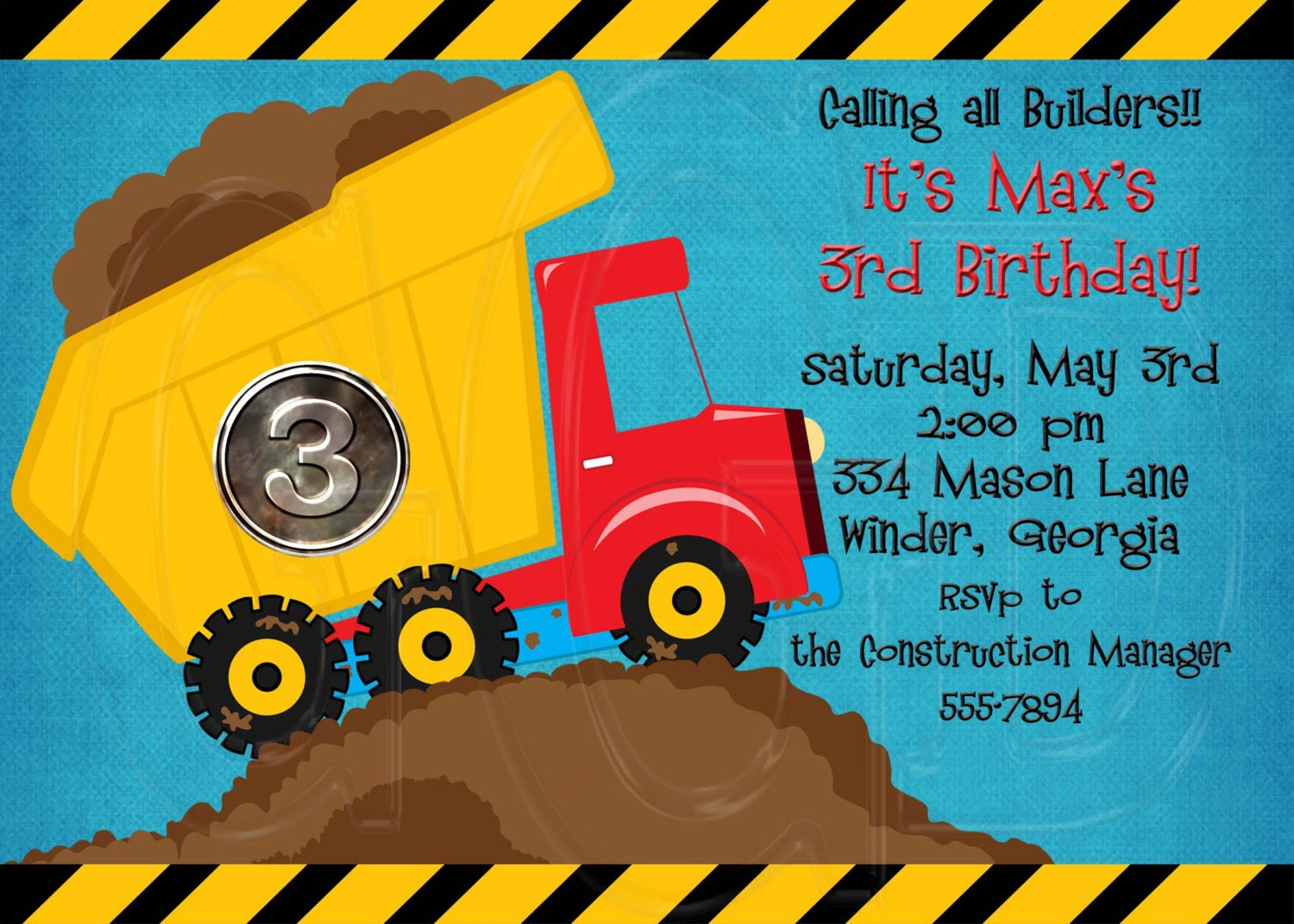 Construction Theme Birthday Party Invitation Digital File