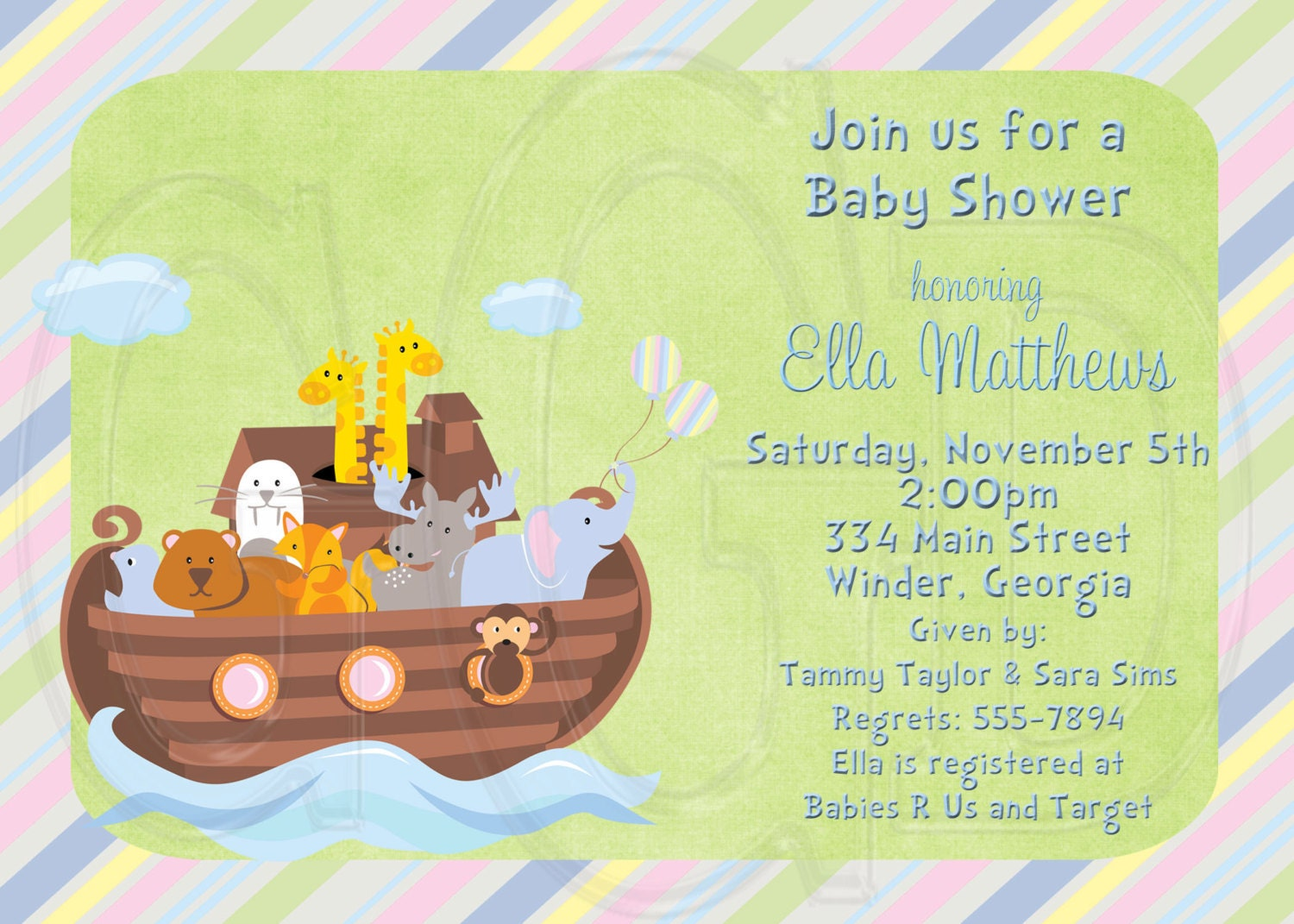 noah 39 s ark invitation birthday or baby shower digital file