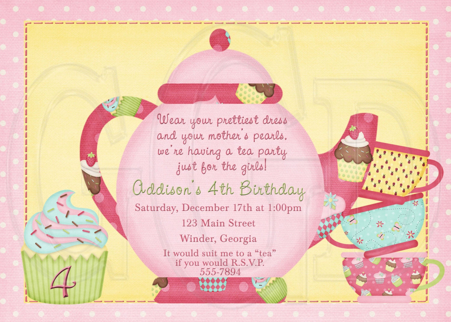Tea Party Invitation Birthday Dress-up Party Digital File