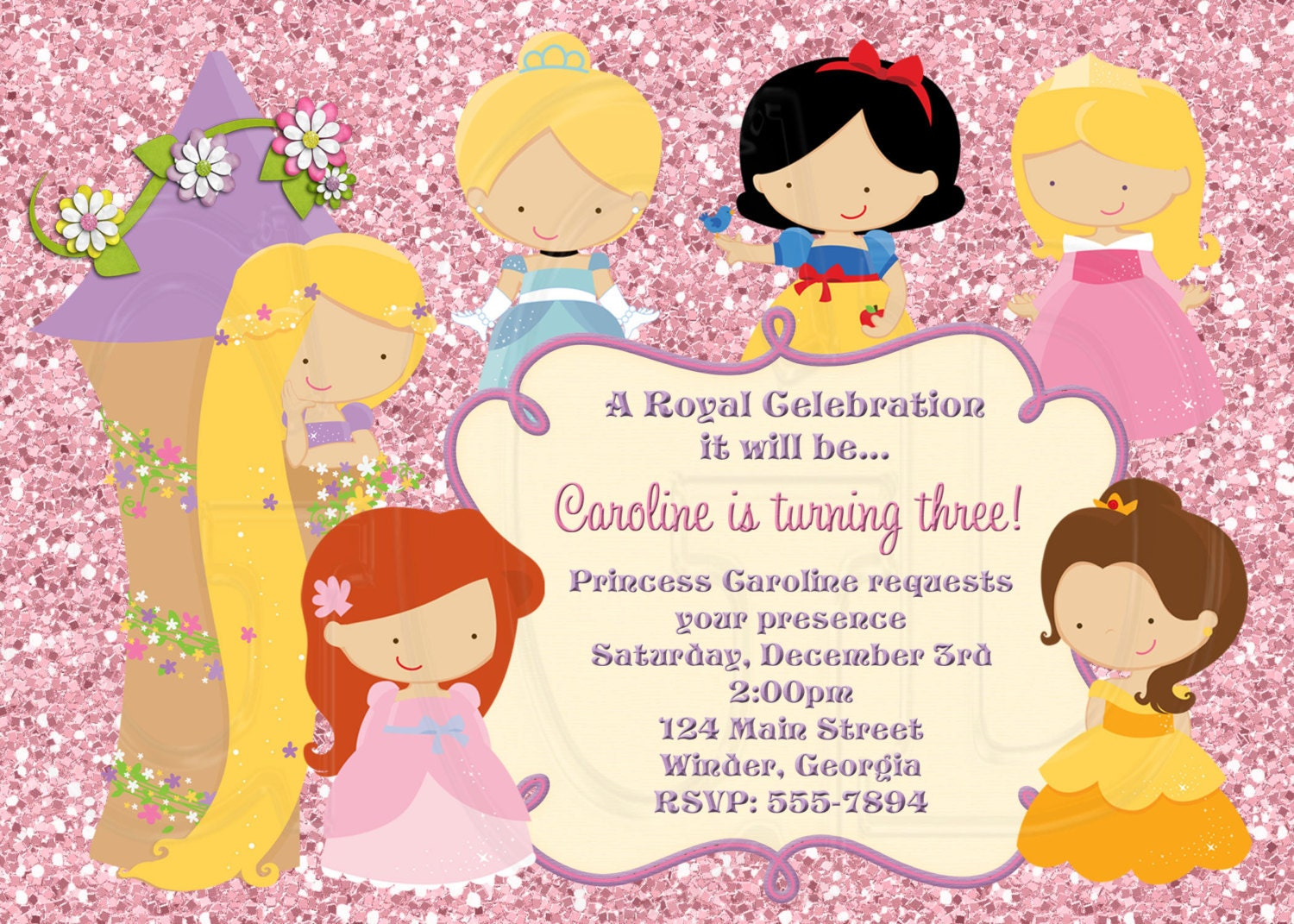 zoom - Disney Princess Party Invitations