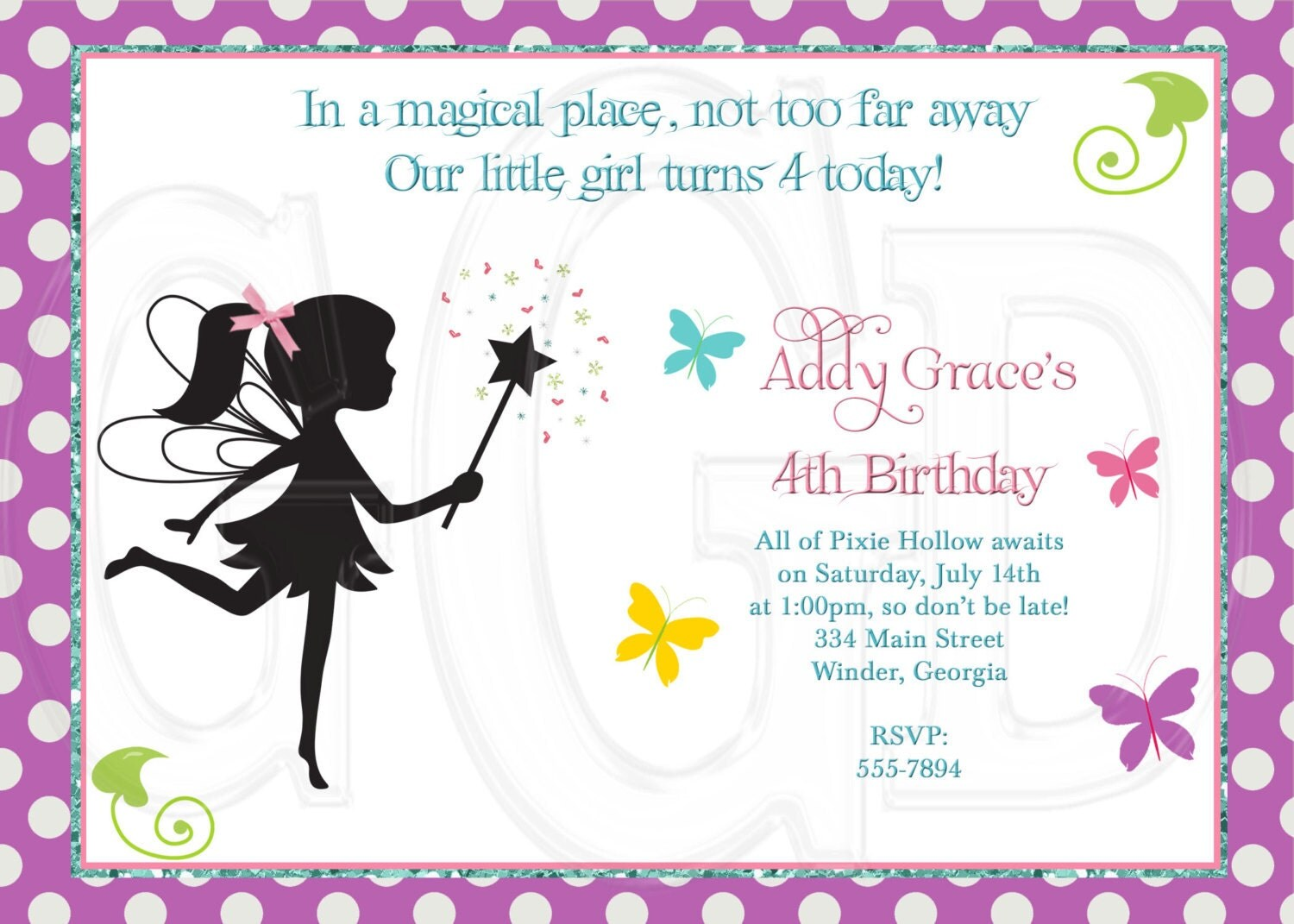 Fairy Invitation Pixie invite Digital File Printable