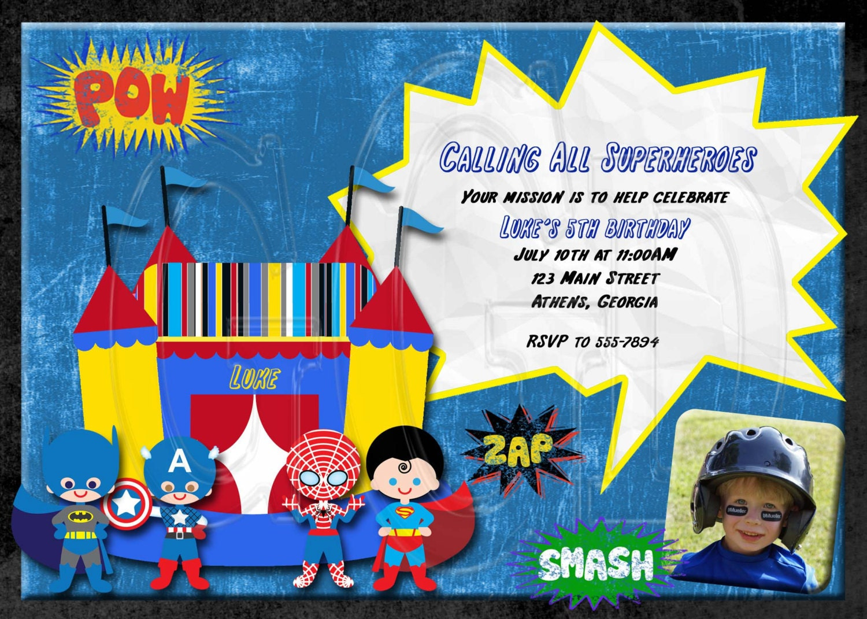 spiderman invite super hero invitation superhero bounce house digital file