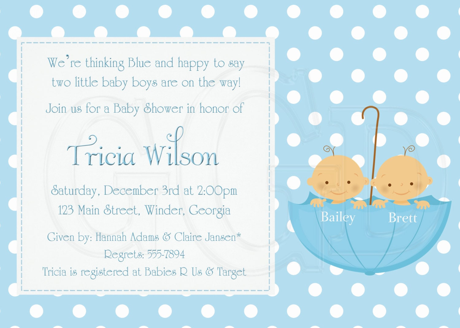 twin baby shower invitation boy digital file