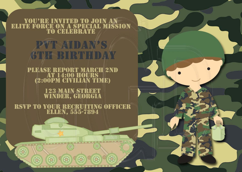 Army Invitation Digital File You Print