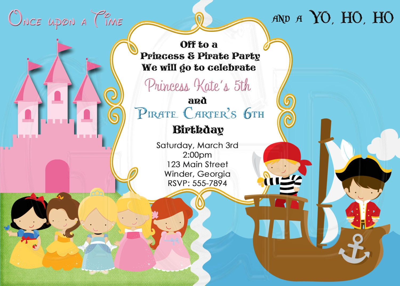 Pirate and Princess Birthday InvitationDigital File – Pirates and Princess Party Invitations