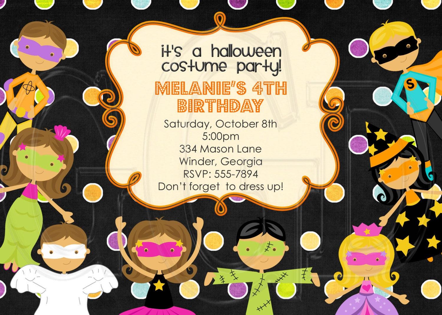 Halloween Costume Kids Party Birthday InvitationDigital File - Halloween birthday invitations party