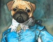 Pug Gainsborough - 11x14 Print - Dog Painting