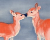 Deer Art - Two Deer Kissing - Pastel Art - 8x10 Print