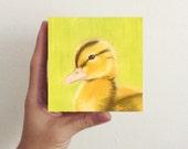 Miniature Duck Art - Baby Duckling / Mini Art Block - nursery art, kids room decor