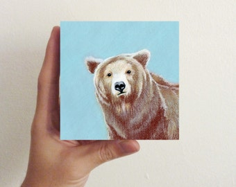 Miniature Brown Bear Art / Mini Art Block - Nursery art, kids room decor