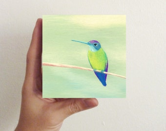 Miniature Hummingbird Art - Bird Art - Hummingbird Four / Mini Art Block - nursery decor, children's room art