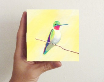 Miniature Hummingbird Art - Bird Art - Hummingbird Five / Mini Art Block - nursery decor, kids room decor