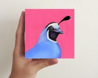 Bird Art - Miniature Quail / Mini Art Block - nursery decor, kids room decor