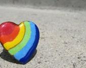 Upcycled brooch rainbow heart ring.