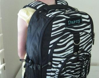 Large Upcycled PBTeen Backpack With Monogram (Large Size) -- Zebra