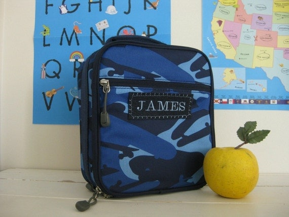 Upcycled Pottery Barn Classic Lunch Bag With Monogram  -- Navy Camo
