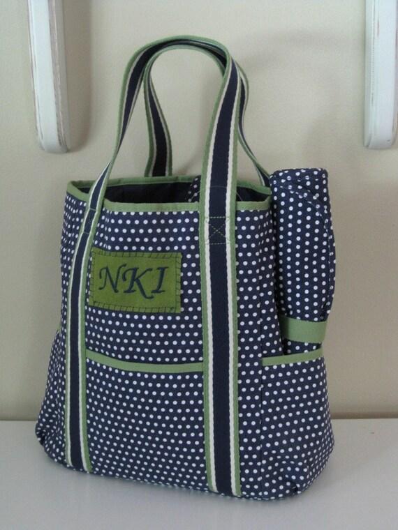 diaper bag monogrammed pottery barn upcycled navy dot. Black Bedroom Furniture Sets. Home Design Ideas