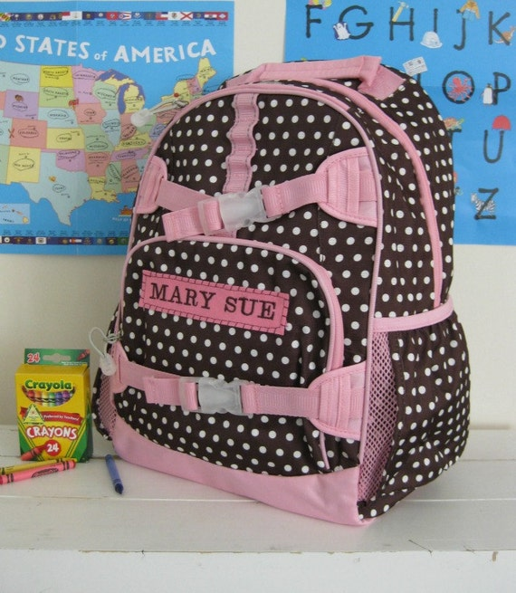 Large Girls Backpack With Monogram (Large Size) -- Brown Dot