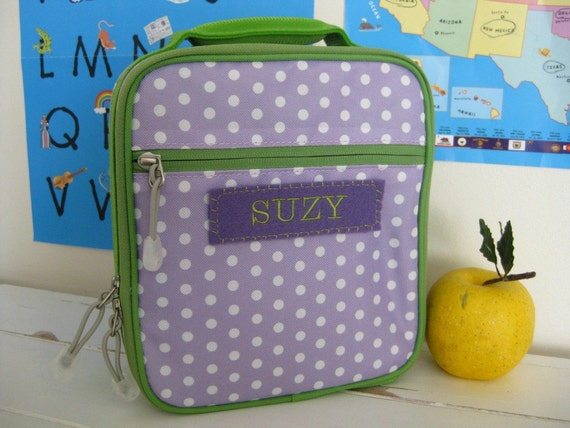Kid's Personalized Lunch Box Pottery Barn Classic Style  -- Purple Dot
