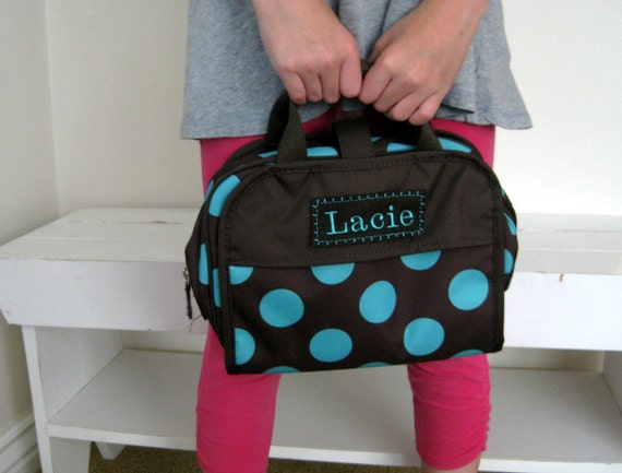 Girl's Toiletry Bag With Monogram Upcycled PBTeen  -- Brown With Aqua Dot