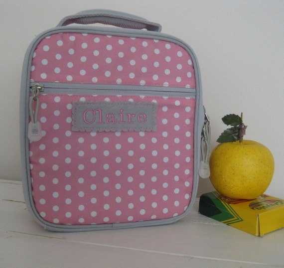 Girl S Personalized Lunch Box With Monogram Pink Grey