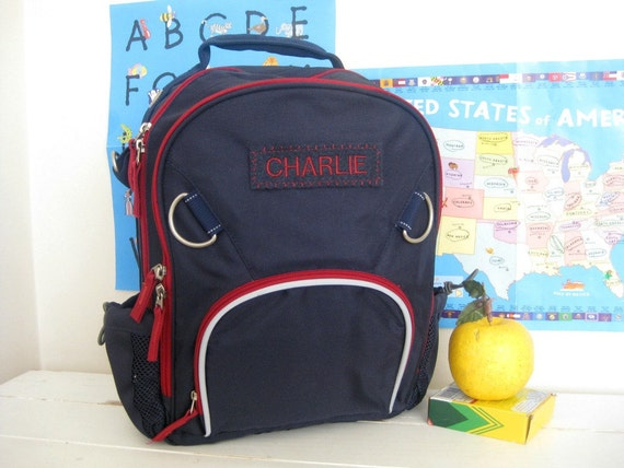 Kids Backpack With Monogram (Small Size) -- Navy/Red