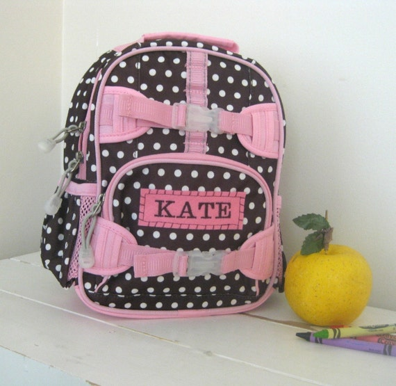Personalized Toddler Backpack Pottery Barn -- Brown Dot