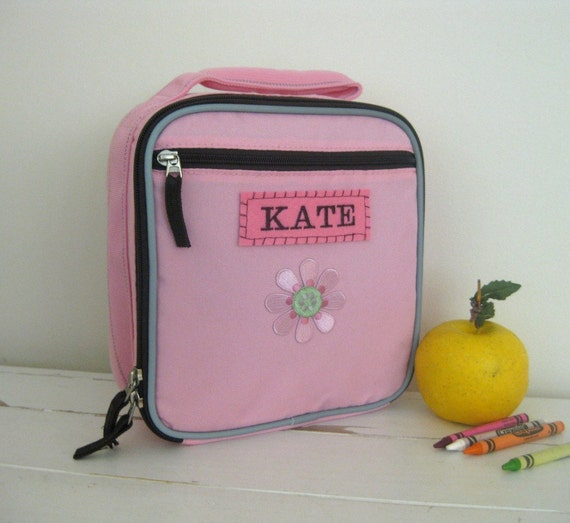 Girl's Lunch Box With Monogram Upcycled Pottery Barn (Fairfax) --Pink/Chocolate With Flower Patch