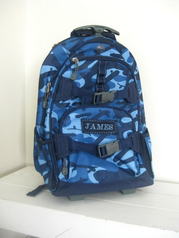 Boys Rolling Backpack With Monogram Large Size (Upcycled Pottery Barn) -- Navy Camo -- Free Domestic Shipping