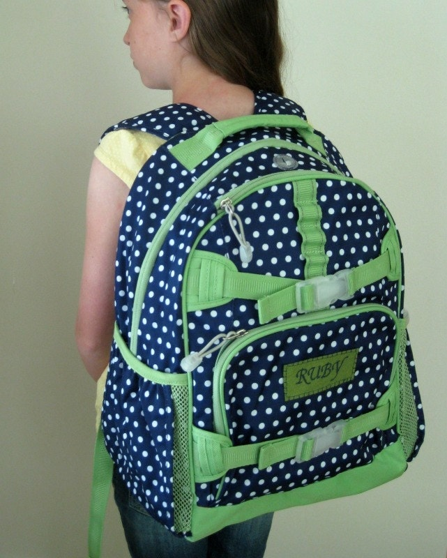 Upcycled Pottery Barn Backpack With Monogram Large Size