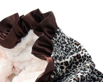 Leopard and Cream Minky Baby Blanket with Chocolate Satin Ruffle